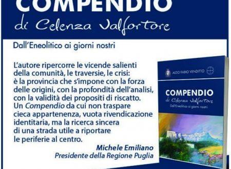 COMPENDIO DI CELENZA VALFORTORE, LA PRESENTAZIONE DEL VOLUME IL 13 AGOSTO